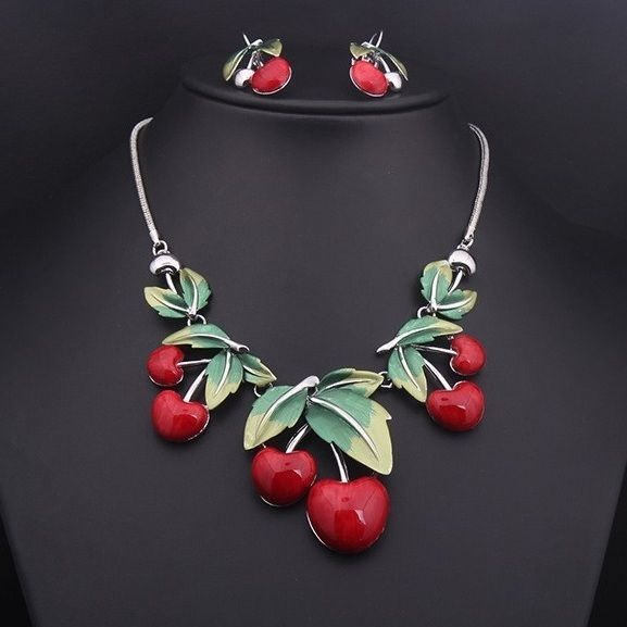 Jewelry Necklace Set Fashion Women Pendant Hot Silver Adorable Cherry Choker New #Unbranded
