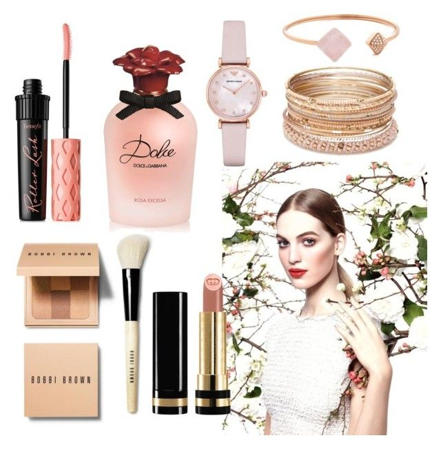 """""""Blush"""" by megmegmarx on Polyvore featuring beauty, Bobbi Brown Cosmetics, Chanel, Gucci, Benefit, Dolce&Gabbana, Emporio Armani, Red Camel and Michael Kors"""