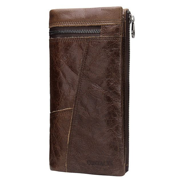 High Quality Fashion Men's Wallets Patchwork Design Wallet Men Genuine Leather Long Clutch Card Holder Purse For Men