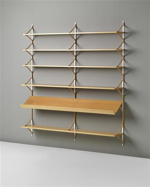 Bruno Mathsson, Laminated Birch Plywood and Painted Metal Anita Shelves for Firma Karl Mathsson, 1950s.