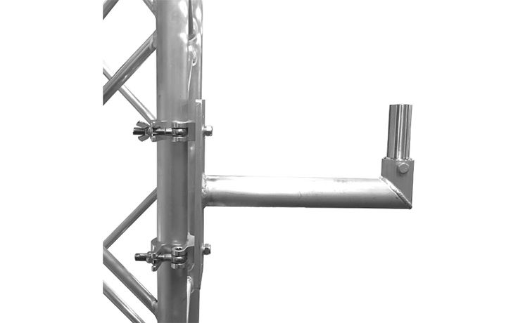 Global Truss heavy duty speaker mount made out of aluminum with strong welds. Will support up to a 75 pound speaker. #quikstage #stanchionexpress #stage #truss #event #church #dj #entertainment #staging #pipe #drape #pipeanddrape #temporary #wall #portable #portablechurch #eventcurtains #stair #stagestair #stairunit #portablestaging #risers #seatingrisers #stage #skirting