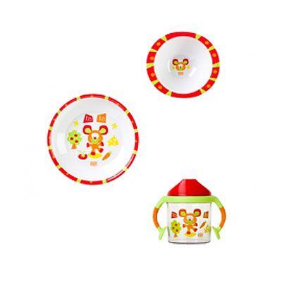 Vajilla 3 piezas Prado SARO 13,20 €  Vajilla de melamina. Incluye: plato, cuenco y vaso con asas.
