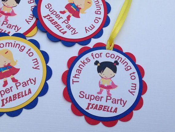 Personalized Girl Superhero Favor Tags, Girl Superhero Birthday Party, Girl Super Hero Party, Girl Power, Girl Superhero Decorations