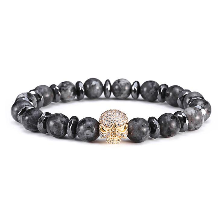Mcllroy Black gall stone Trendy Micro Pave Black CZ Zirconia Skull Charm Bracelet Men Natural Stone Bead Pulseira feminina #Affiliate