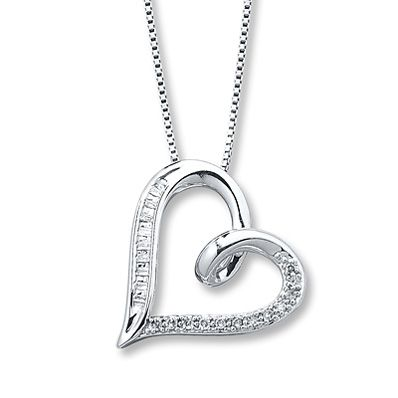 Diamond Heart Necklace 1/10 carat tw Sterling Silver