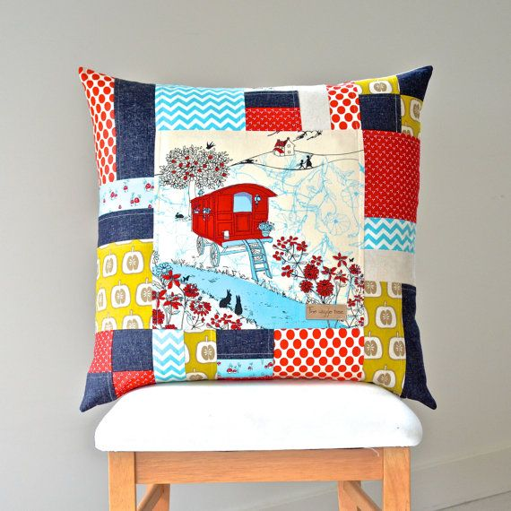 European Pillow Cover 'Gypsy Caravan'. Kids Room / Nursery Decor. Handmade by The Wiggle Tree.