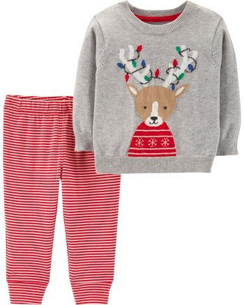 cb89a780e Carter s   Carter s 2-Piece Reindeer Sweater   Striped Pant Set ...