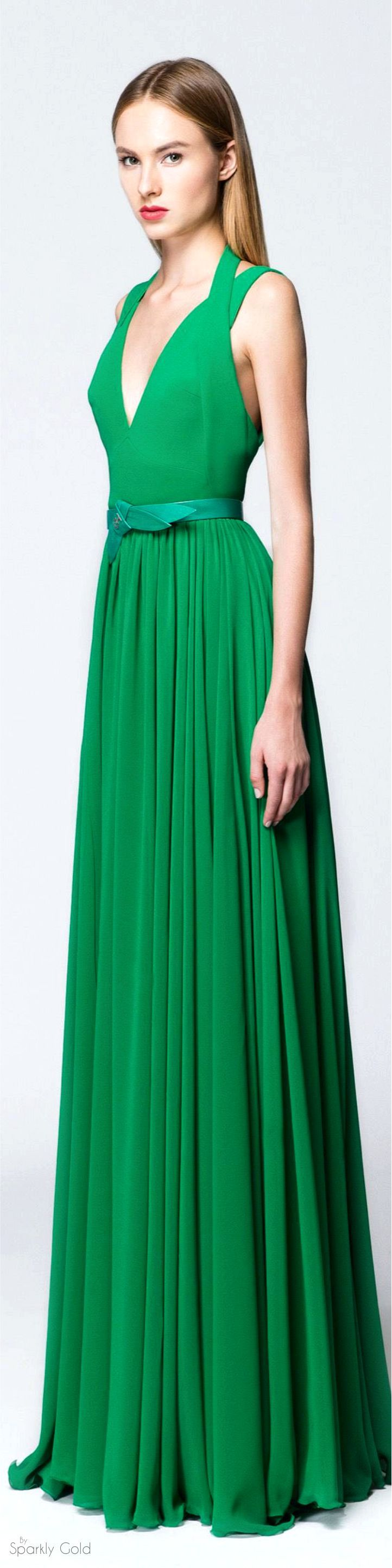 GH by Georges Hobeika Spring 2016 RTW green maxi dress women fashion outfit clothing style apparel @roressclothes closet ideas