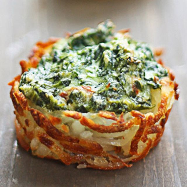 Spinach & Goat Cheese Hash Brown Nests