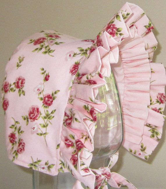 Baby Bonnet- Vintage Pink Roses- Baby Hat- Reversible.  via Etsy.