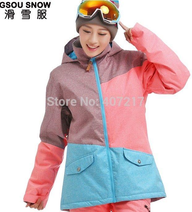 2014 nieuwe womens kleuraanpassing skijack blauw roze snowboarden jassen ski jas voor vrouwen anorak skikleding 10 K gratis schip(China (Mainland))