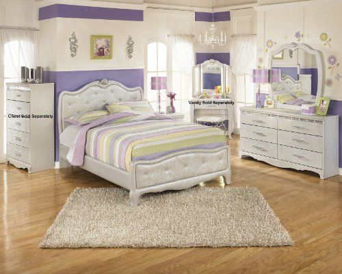 Create a bedroom decor that is worthy of the princess in your life with the elegant beauty of the ?Julia? youth bedroom collection. With the silver pearl finish of the 3D press technology creating smooth edges and a unique design along with the flowing button tufted upholstered headboard adorned... more details available at https://furniture.bestselleroutlets.com/children-furniture/bedroom-sets-children-furniture/product-review-for-julia-silver-and-pearl-girls-full-size-bedro