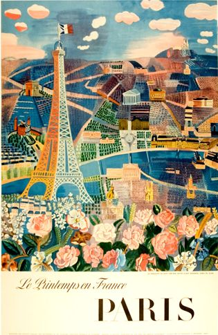 By Raoul Dufy, 1960's, Paris in the Spring.   What's better than springtime in Paris?
