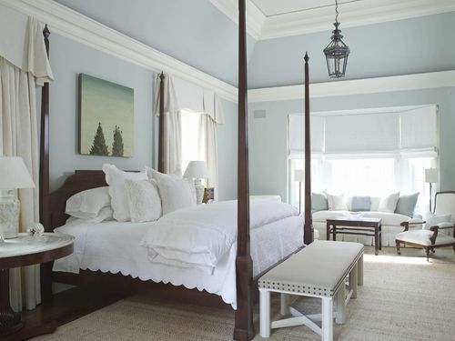 Howard_19 - Pale blue walls, blue and white accessories, white coverlet, 4 poster bed, lantern - charming