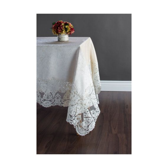 Cream Tablecloth cream colored velvet with by NappeStreetCloth