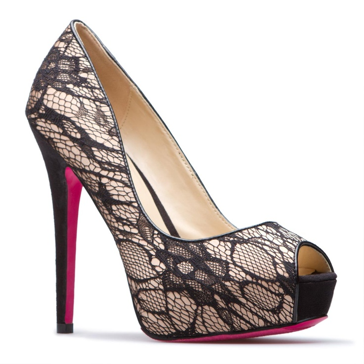 Lace Peep-Toe Pump with Pink Bottoms.: Shoes, Black Lace, Fashion, Shoedazzle, Style, Pump, Heels, Things, Closet