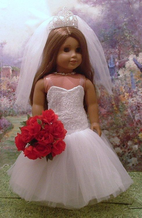 We could get these for the girls and their dolls for the wedding. American Girl doll in wedding dress MyGirlClothingCo