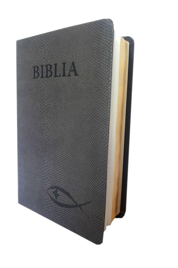 Biblia NTR (Biblia Noua Traducere), castanie, coperta imitatie piele, aurita, cu peste