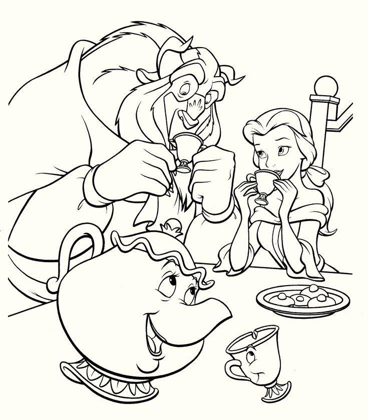 Mejores 15 imágenes de 15 Beauty and The Beast Coloring Pages en ...