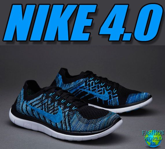 Nike Free 4.0 Flyknit Mens Running Shoe SZ 12 Black Blue Lagoon Royal  717075 004