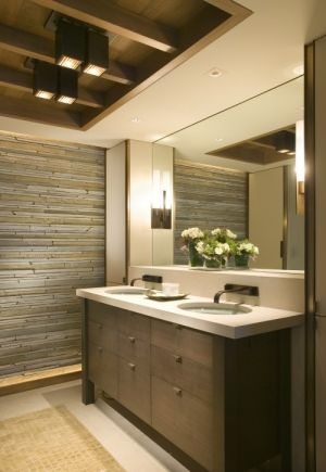 basement bathroom ideas cream walls with a recycled pallet wood slat