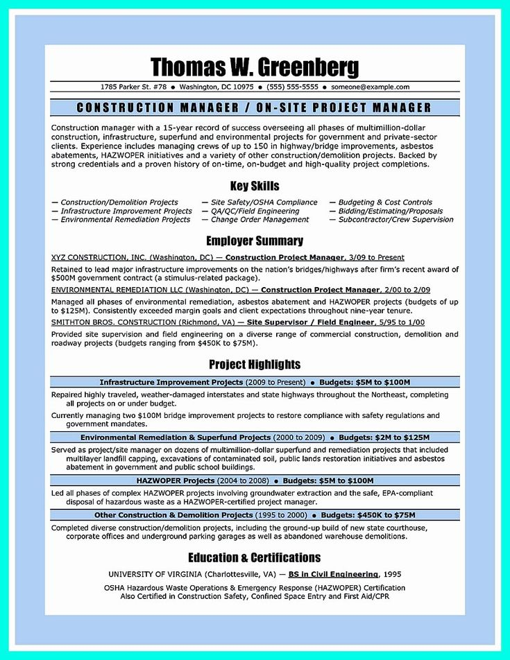 25 Construction Manager Resume Template in 2020 (With