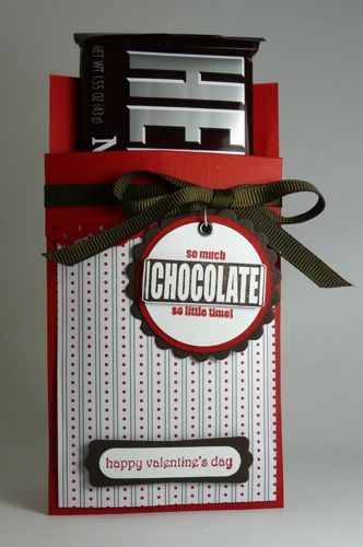 """Sweet"" Valentine's Card...candy bar holder with a tag."