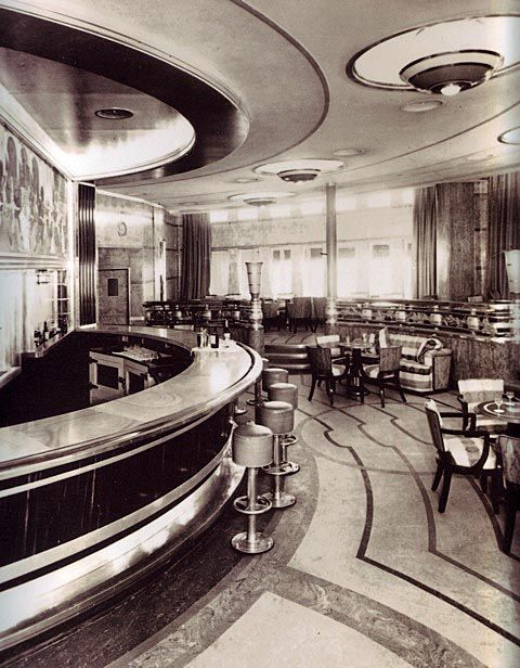 Note bar combination surface with metal edge curved bar patterned floor and ceiling · art deco