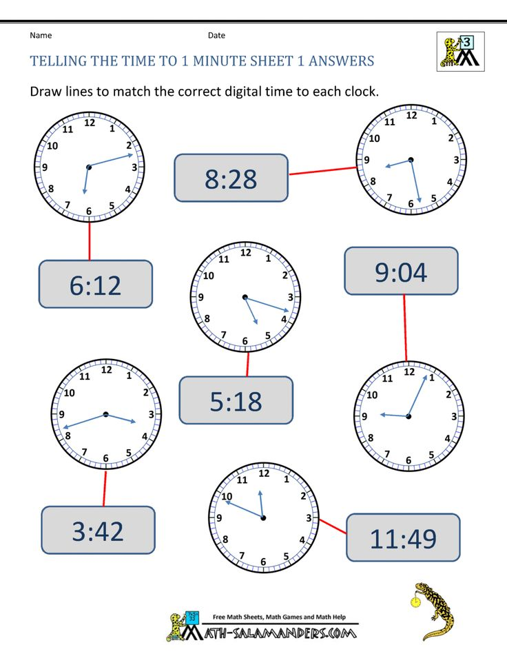 Telling the Time to 1 Minute Sheet 1 Answers | Time ...