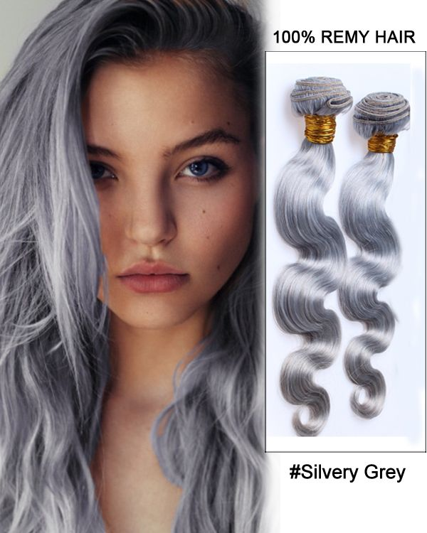 194 best feshfen hair weaveweft images on pinterest wig and 18silvery grey weave body wave weft remy human hair extensions pmusecretfo Images