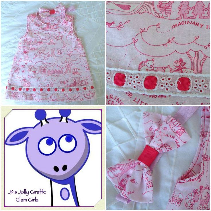Handmade by J9s Jolly Giraffe Glam Girls  Just the thing for spring or summer – this pretty pink pinnie will fit 9-12 months.