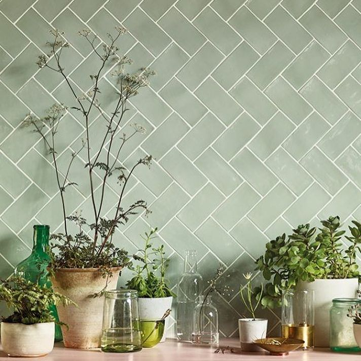 Green Kitchen Tiles With Images Green Kitchen Backsplash Green Kitchen Walls Kitchen Wall Tiles