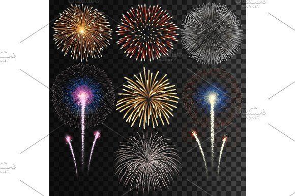Big Set Of Isolated Vector Fireworks Fireworks Graphic Design Illustration Illustration Design