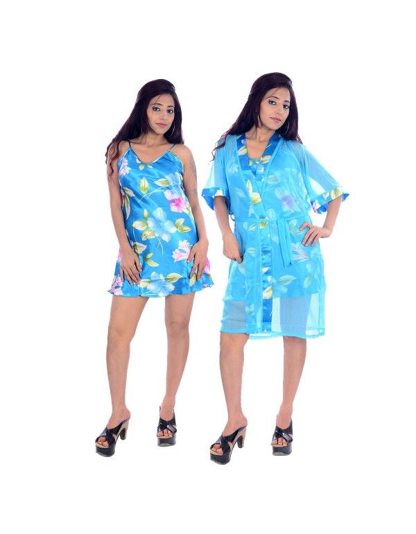 Sky Blue Silky Floral Print Knee Length Gown