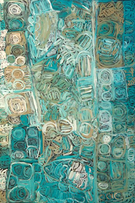 """Sonia Kurarra, Martuwarra, 2013, 120 x 120 cm. Mankaja Arts; ReDot Fine Art Gallery, Singapore. """"Martuwarra is my river country; this painting is all about the Fitzroy River which flows down through Noonkanbah where I live. All kinds of fish live in the water, we catch big mob of fish here. I like Parlka (barrumundi). We catch catfish and brim here too. Nganku (shark), Wirritunany (swordfish) and Stingray also live here. These fish live in these waters long after the flood has gone."""""""