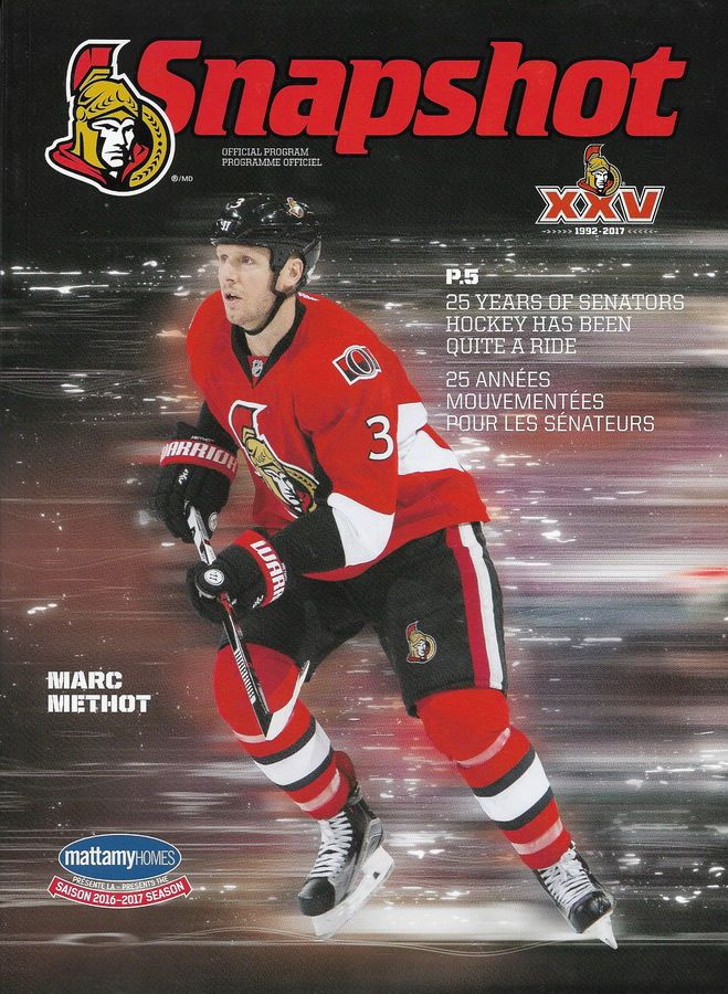 2016-2017 Ottawa Senators Program - Marc Methot