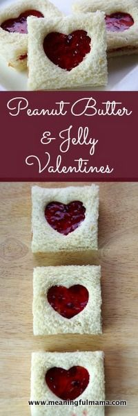 Peanut Butter and Jelly Valentine Sandwiches - Meaningfulmama.com
