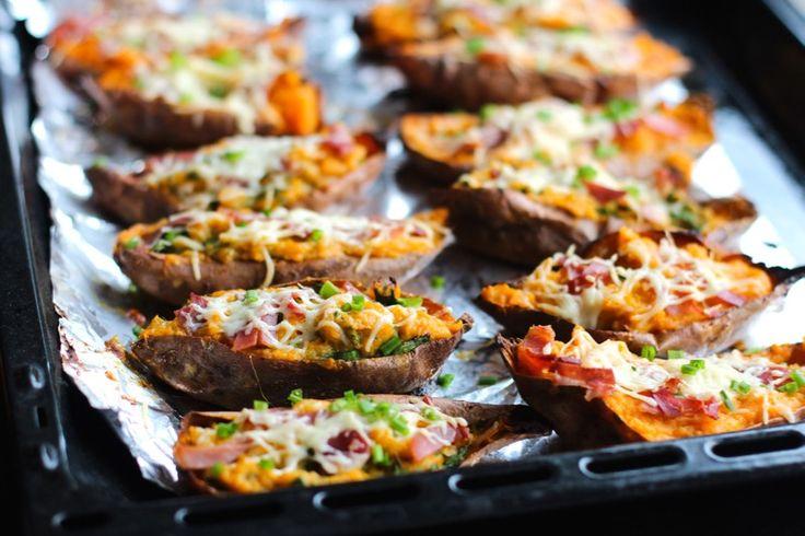 Une recette inratable de Patates douces farcies au jambon cru et mozzarella Thermomix sur Yummix • Le blog culinaire dédié au Thermomix !