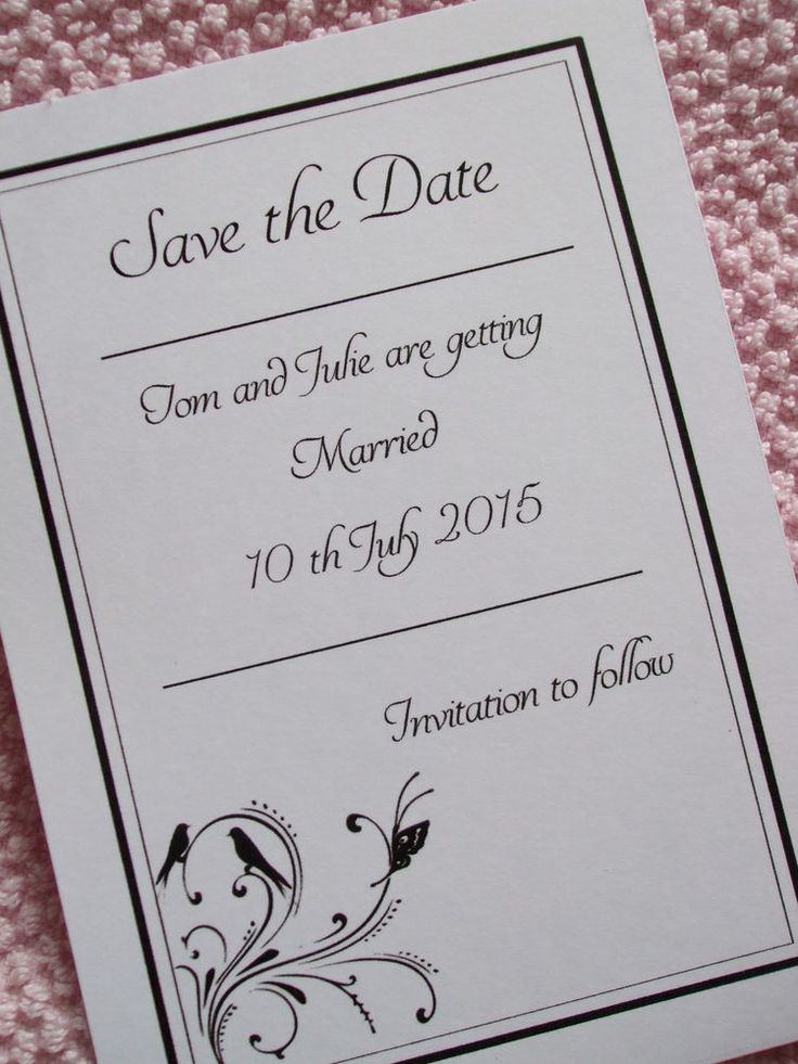 10 x Wedding Save The Date Cards and Envelopes - Invitation - Personalised
