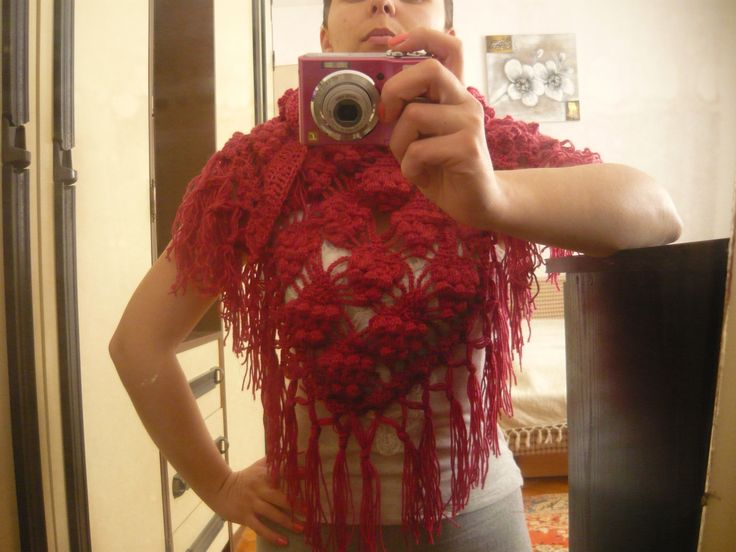 crochet hand made cotton wool stitch grapes shawl