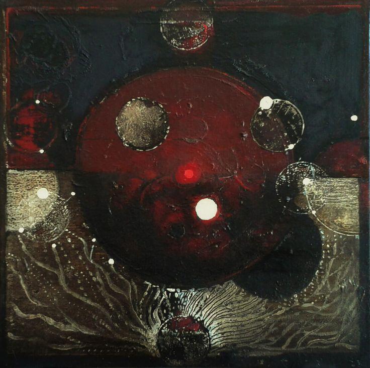 Początek, oil on canvas, 37,5x 37,5 cm, 2016