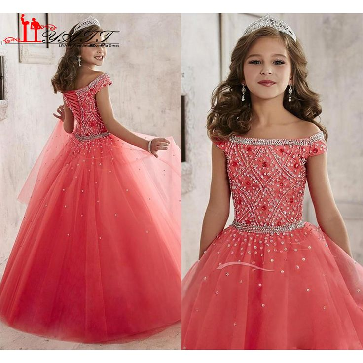 Find More Flower Girl Dresses Information about Little Girls Pageant Dresses 2016 Off Shoulder Crystal Beads Coral Tulle Formal Party Dress for teen Kids Flowers Girls Gowns,High Quality dress for less prom dresses,China beads sweets Suppliers, Cheap beaded silk chiffon dress from S. Dream Dreses Co,Ltd on Aliexpress.com