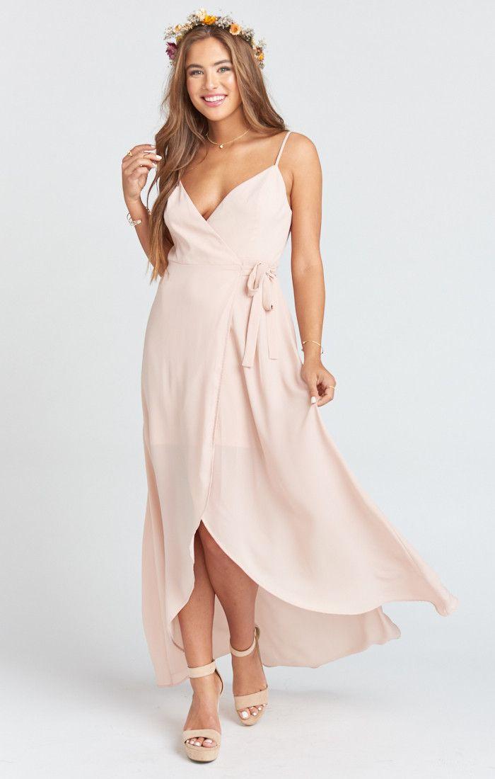 79f7efc7db Mariah Wrap Dress ~ Dusty Blush Crisp