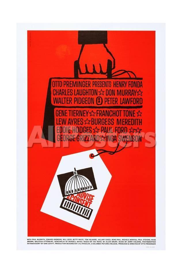 Advise and Consent Movies Art Print - 41 x 61 cm