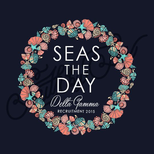 Delta Gamma | DG | Seas the Day | Shell Wreath Shirt Design | Recruitment Tee Shirt South by Sea | Greek Tee Shirts | Greek Tank Tops | Custom Apparel Design | Custom Greek Apparel | Sorority Tee Shirts | Sorority Tanks | Sorority Shirt Designs
