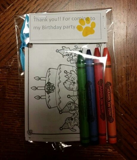 Paw patrol birthday party favors....made little  coloring books and gave them 4 crayons