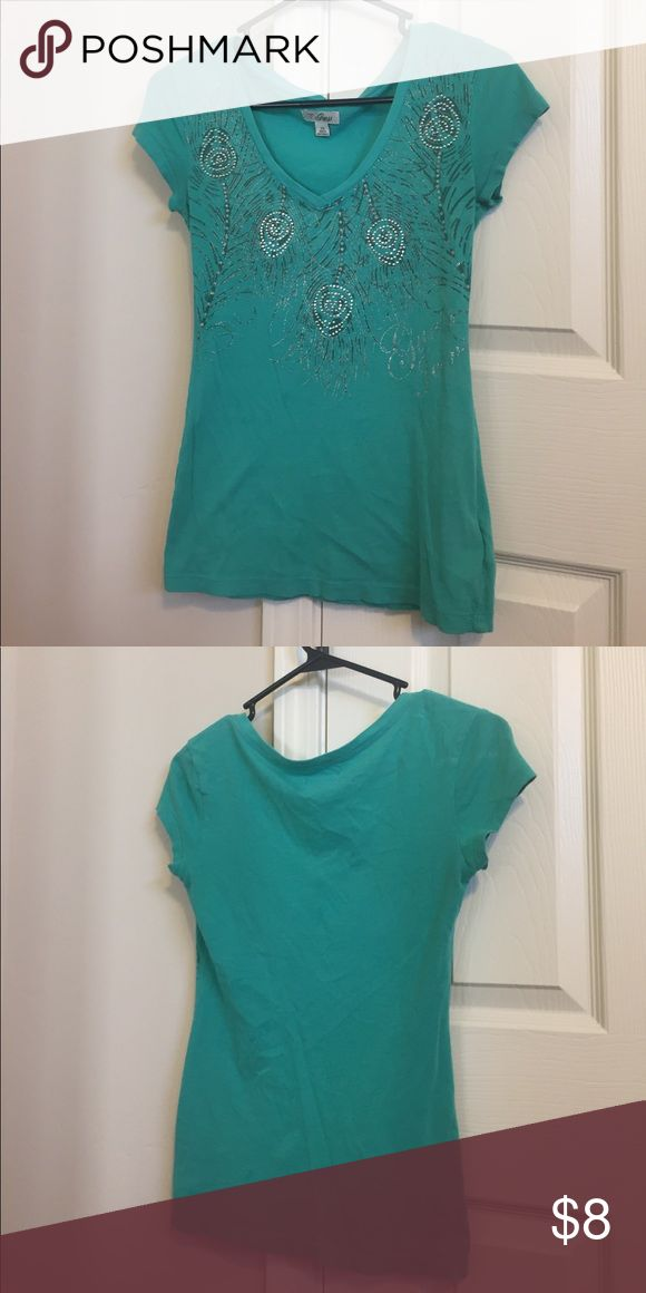 Guess teal shirt size xs Teal guess shirt with little Rhinestones on it. V neck Guess Tops Tees - Short Sleeve