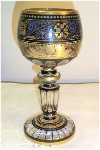 Vintage Bohemian glass chalice with gold and black enamel by Hermann Pautsch for Haida, c. 1910