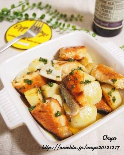 簡単カフェ飯】タレをかけるだけ♪鮭とじゃがいものバターレモン ...