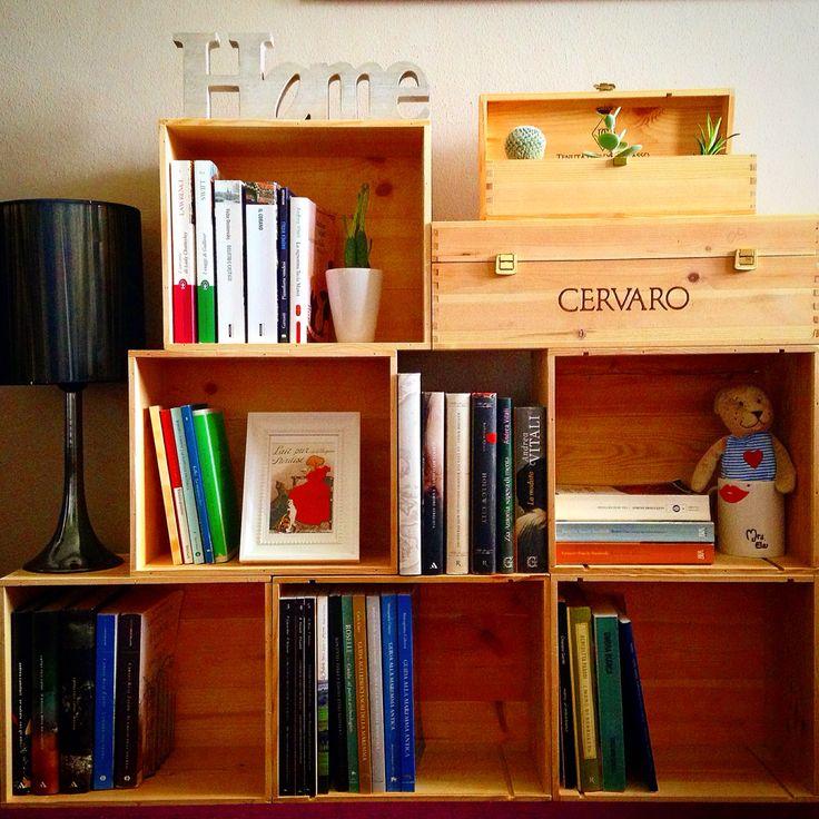 libreria libri cassette vino wine box